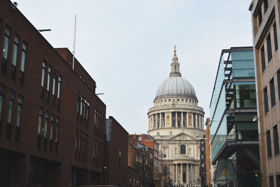 St. Paul's Cathedral stands out from the other buildings in central London.