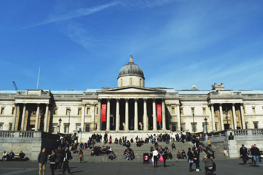The entrance of The National Gallery, one of the most prominent London museums.