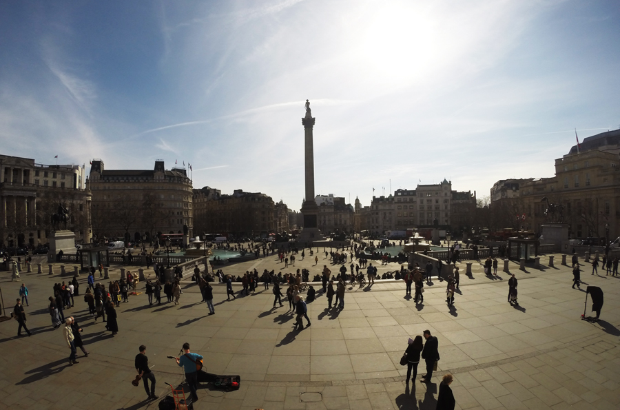 A view out over Trafalgar Square in the center of many London museums.