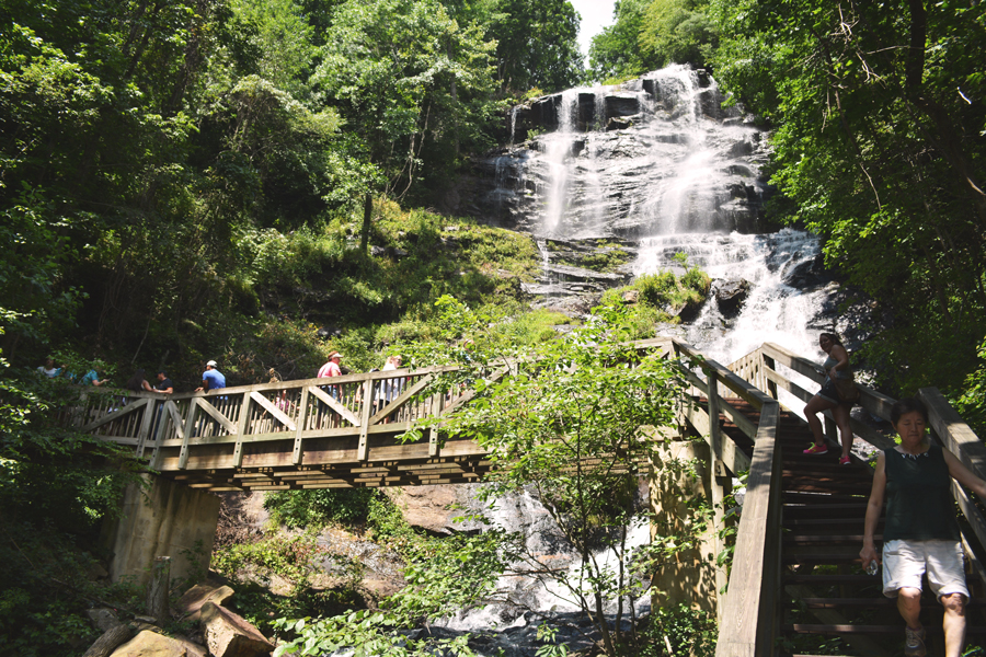 The bridge that takes you across the cascading water of Amicalola Falls, a perfect day trip out of Atlanta.
