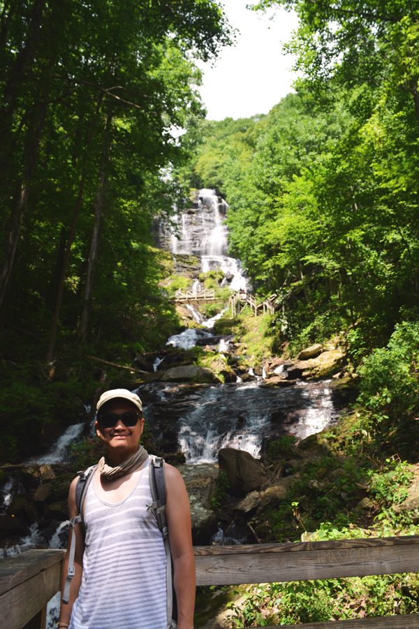 Kevin Banogon stands in front of Amicalola Falls in northern Georgia during a day trip outside of Atlanta.