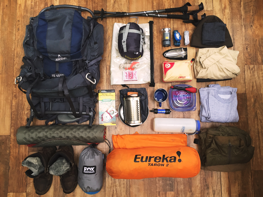 Kevin Banogon lays out all the hiking gear he is going to near while backcountry camping on Spring Mountain.