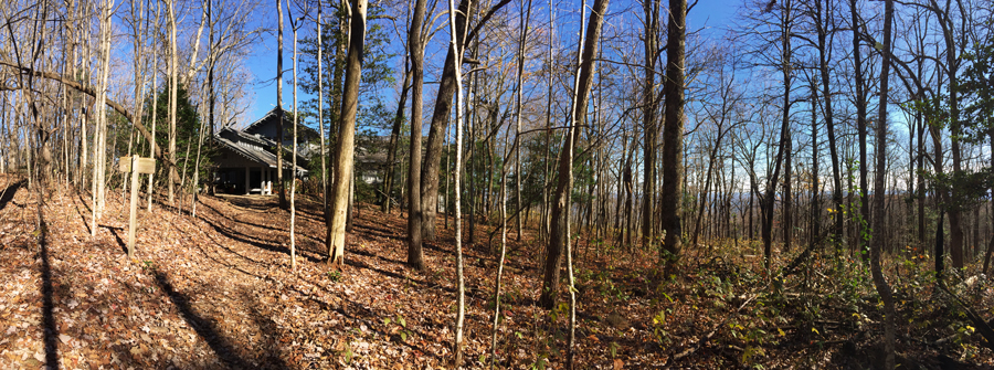 A panoramic view of the Hike Inn along the AT Approach Trail up Springer Mountain.