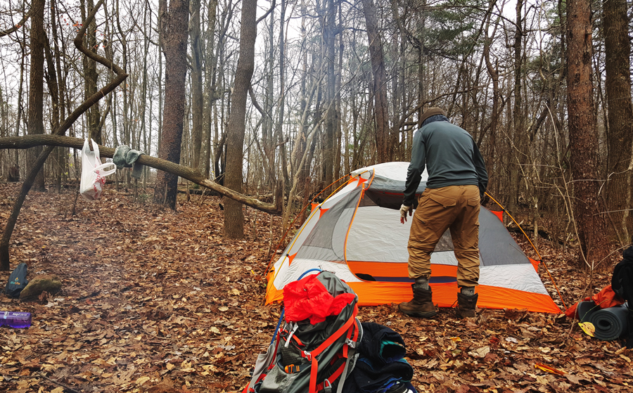 Kevin Banogon sets up camp in the backcountry along the AT Approach Trail to Springer Mountain.
