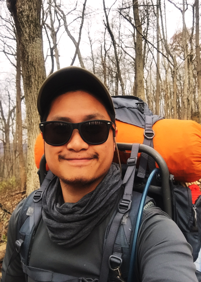 Kevin Banogon takes a selfie while backcountry hiking along the Appalachian approach trail to Springer Mountain.