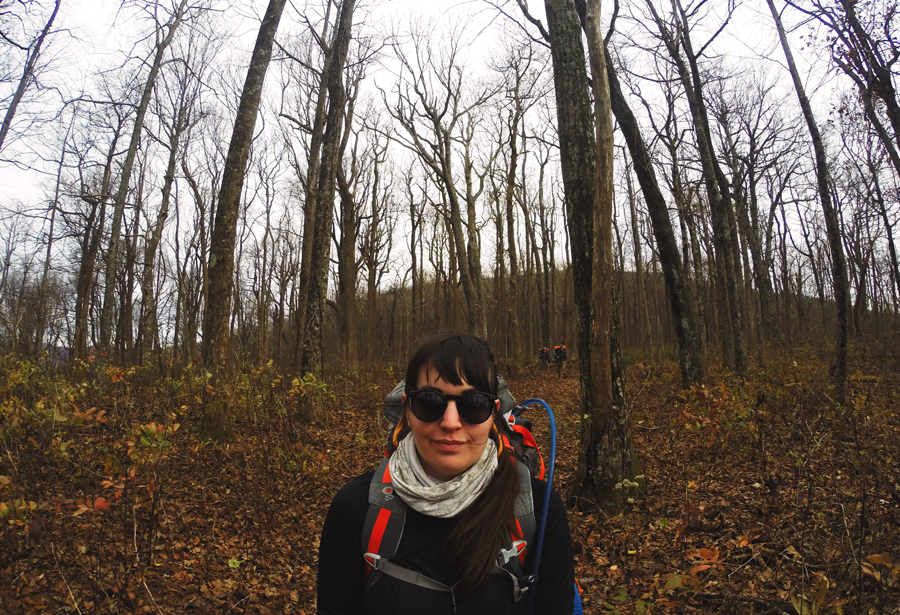 Meredith Lambert Banogon takes a GoPro selfie while hiking along the Appalachian Approach Trail with Kevin Banogon and Whitney Kics.