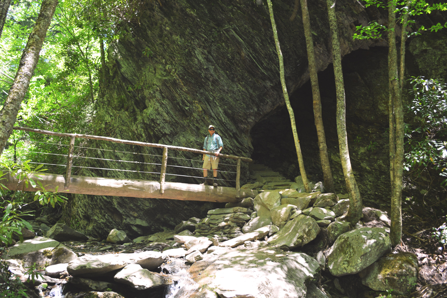 Kevin Banogon poses along the hike to Alum Cave Trail in the Great Smoky Mountains National Park.