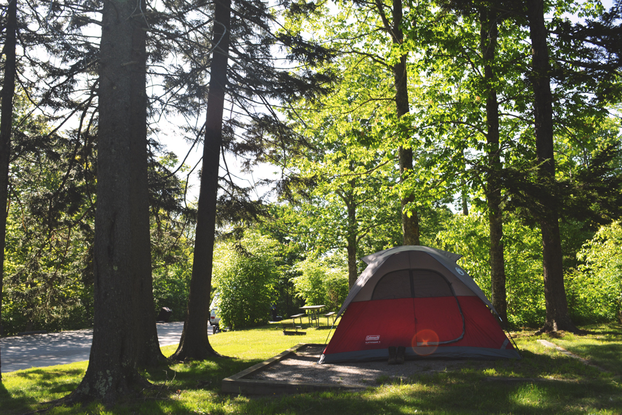 Camping at the Balsam Mountain Campgrounds in the Great Smoky Mountains National Park.