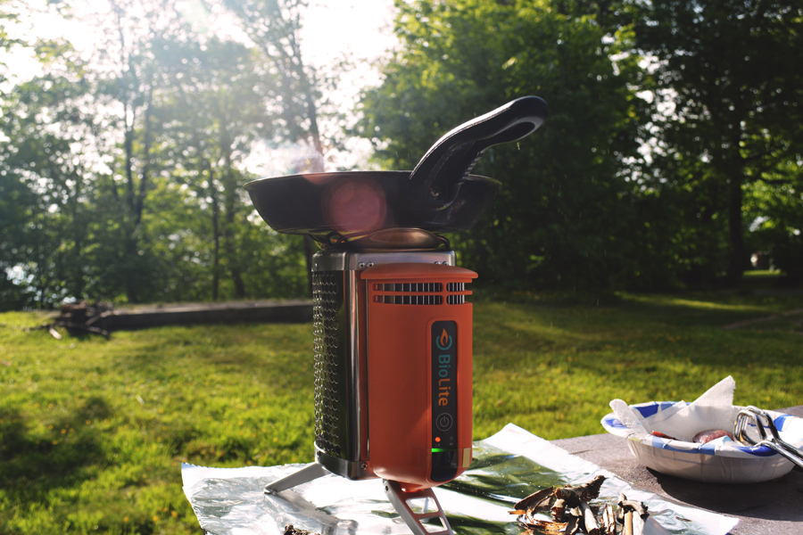 Cooking dinner on a BioLite Stove at the Balsam Mountain Campgrounds in the Great Smoky Mountains National Park.