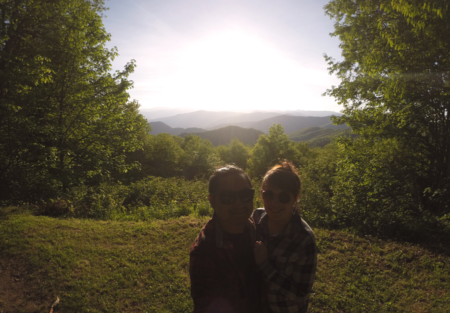 Meredith Lambert Banogon and Kevin Banogon in front the best sunset in the Smoky Mountains.