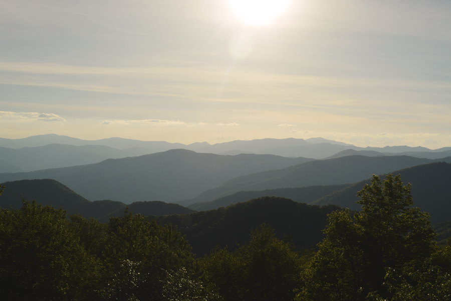 The iconic layering of the Great Smoky Mountains during a beautiful sunset.