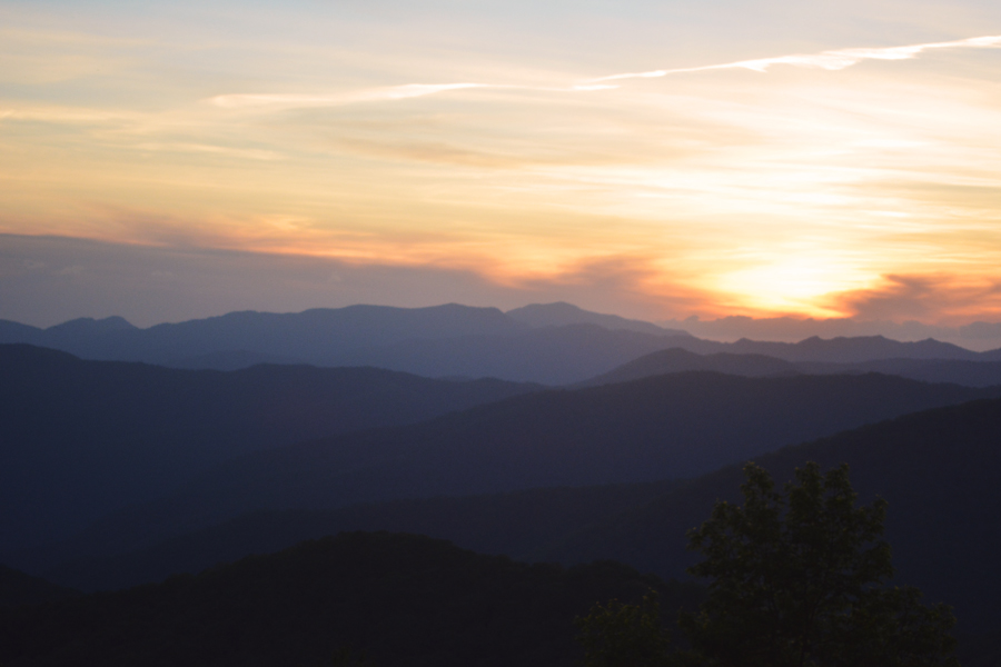 One of the best sunsets in the Great Smoky Mountains can be found by the Balsam Mountain Campgrounds.