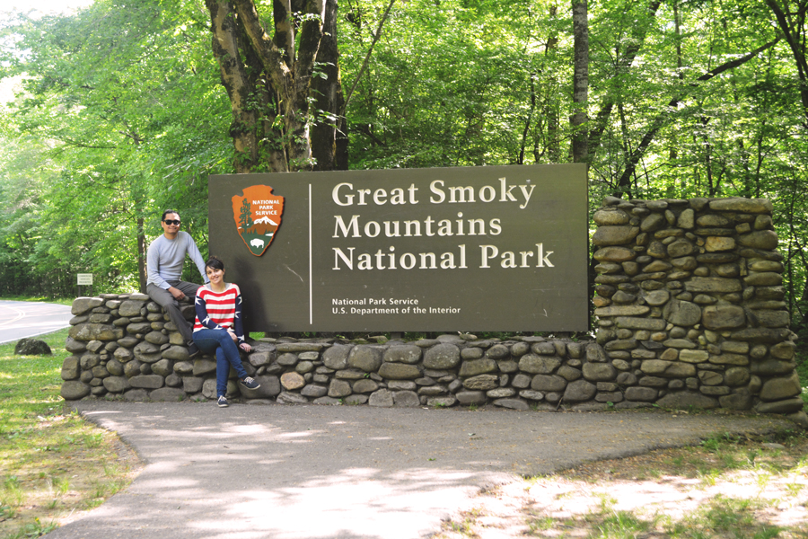 Kevin Banogon and Meredith Lambert Banogon pose by the southern entrance to the Great Smoky Mountains National Park.