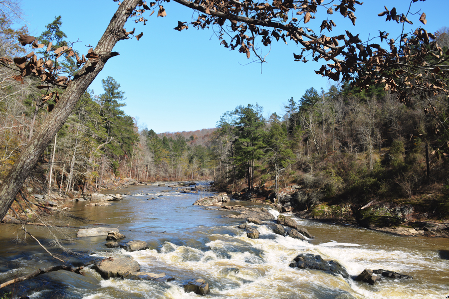 An Atlanta day hike at Sweetwater Creek State Park in the fall.