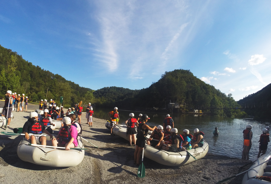 High Country Adventures prepares their boats to launch down the Ocoee River.