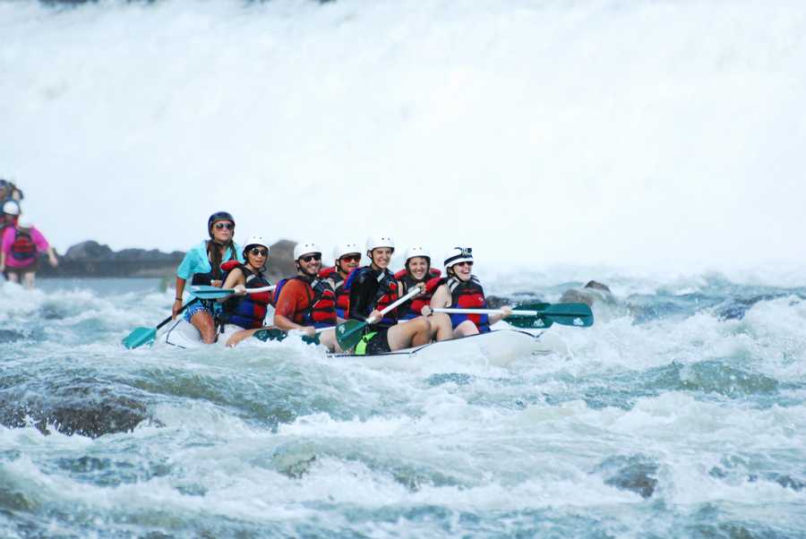Kevin Banogon, Meredith Lambert Banogon, Alicia Doroteo, Michael Meredith, Zoe Gordon, and Celeste Von Ahnen begin whitewater rafting the Ocoee River.