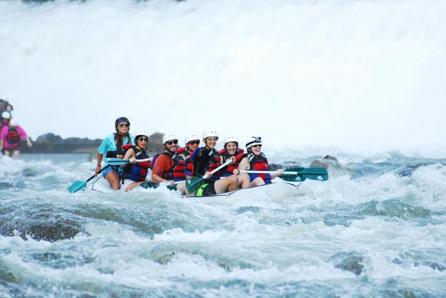 Kevin Banogon, Meredith Lambert Banogon, Alicia Doroteo, Michael Meredith, Zoe Gordon, and Celeste Von Ahnen begin whitewater rafting the Ocoee River.