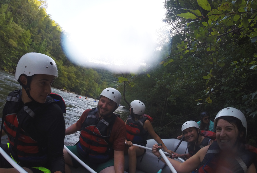 A GoPro shot taken as the tour group waits for the other boats to catch up while whitewater rafting the Ocoee River.
