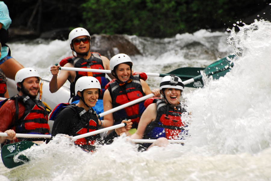 Meredith Lambert Banogon, Celeste Von Ahnen, Michael Meredith, Zoe Gordon, and Kevin Banogon prepare for the whitewater of the Ocoee River to hit them in the face.