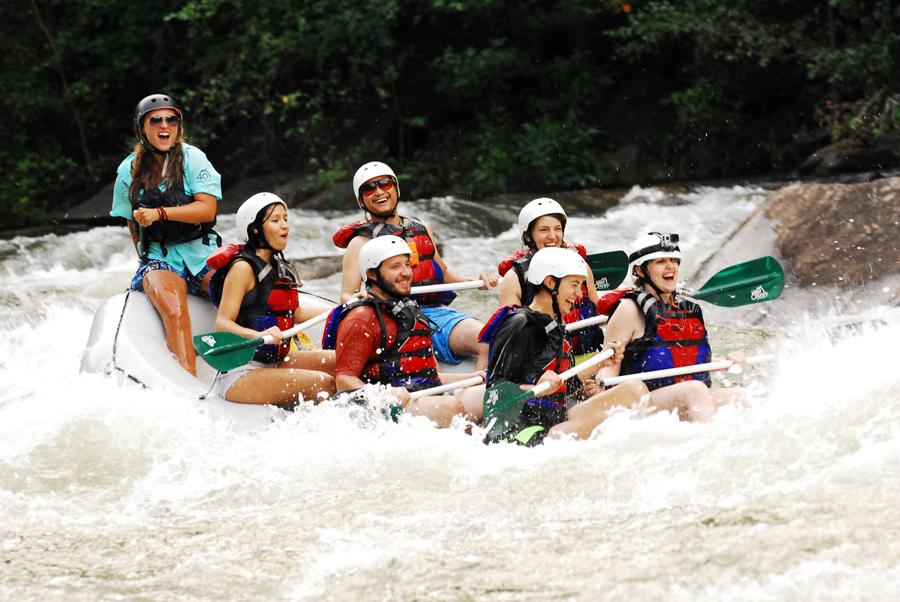 Alicia Doroteo, Kevin Banogon, Meredith Lambert Banogon, Celeste Von Ahnen, Michael Meredith, and Zoe Gordon relish in the whitewater rafting experience on the Ocoee River.