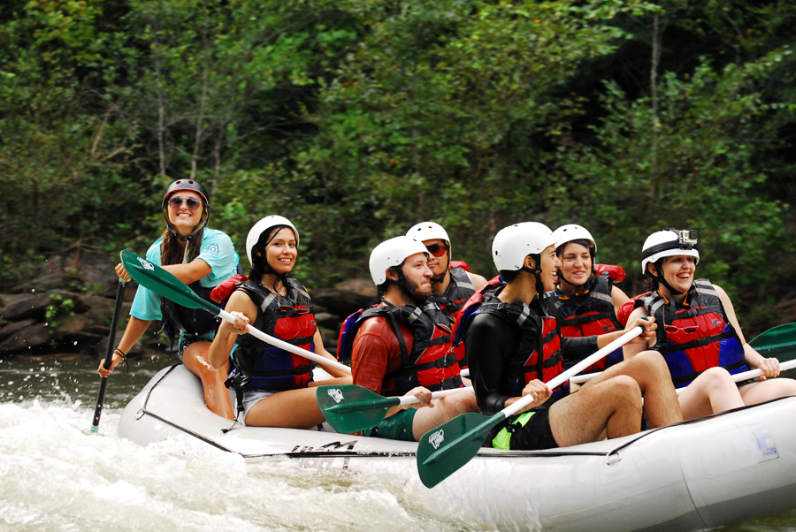Kevin Banogon, Meredith Lambert Banogon, Alicia Doroteo, Michael Meredith, Zoe Gordon, and Celeste Von Ahnen enjoy whitewater rafting the Ocoee River in Chattanooga, Tennessee.
