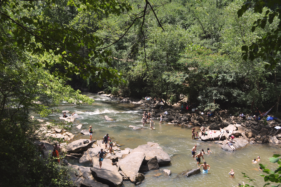 Many people from around the Atlanta area come to Old Roswell Mill Falls to enjoy a dip in the water of Vickery Creek.