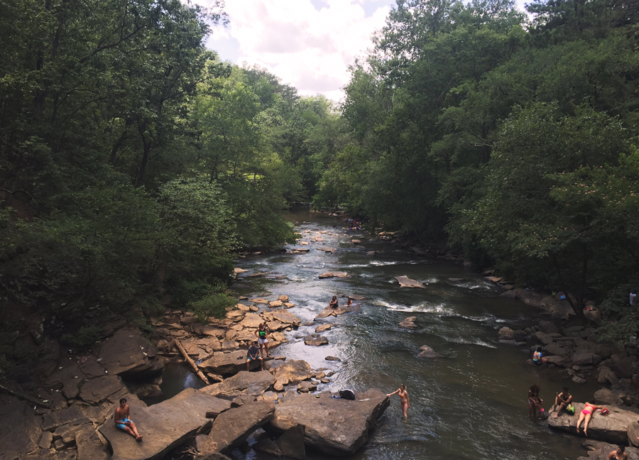Looking out over Vickery Creek from the top of Old Roswell Mill Falls.