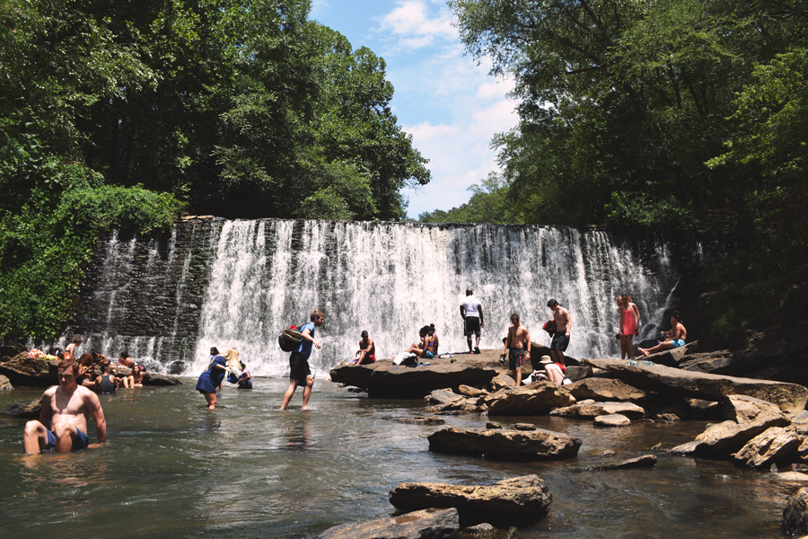 A busy Sunday in the waters at Old Roswell Mill Falls.