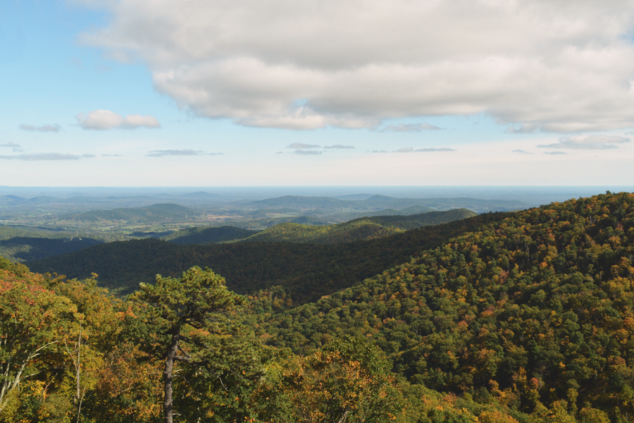 A scenic view of the Blue Ridge Mountains in Shenandoah National Park off of Skyline Drive.