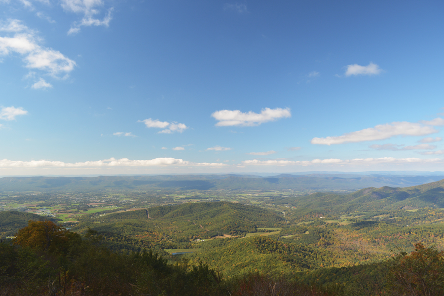The view of Shenandoah Valley from inside Shenandoah National Park.