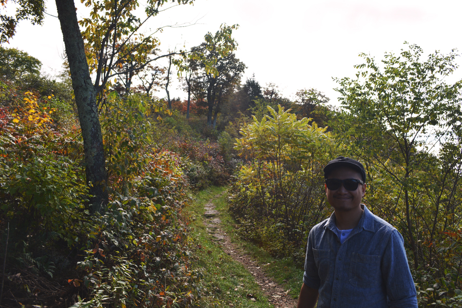 Kevin Banogon stands on part of the Appalachian Trail within Shenandoah National Park.