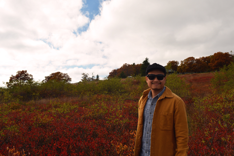 Kevin Banogon stands in Big Meadows of Shenandoah National Park in the fall.