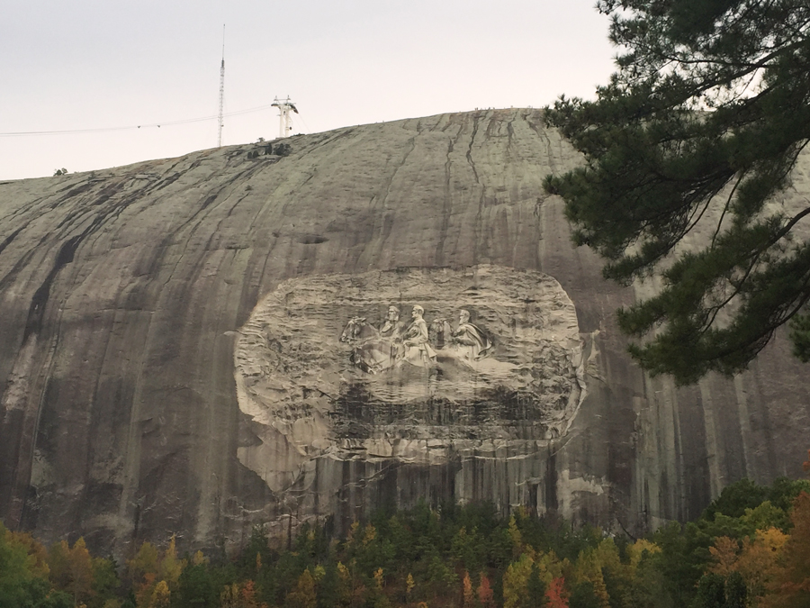 The Confederate Carving in the side of Stone Mountain towers above Atlanta, Georgia.