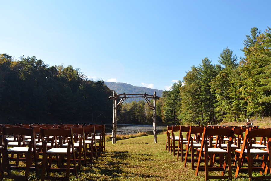 The beautiful set up for the wedding of Alex and Ana Glass at Montfair Resort Farm in Virginia.