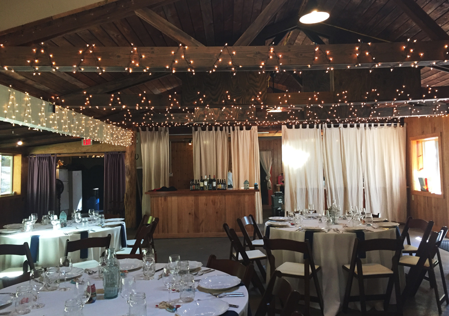 The indoor set up at Montfair Resort Farm in Virginia for a simple rustic wedding.