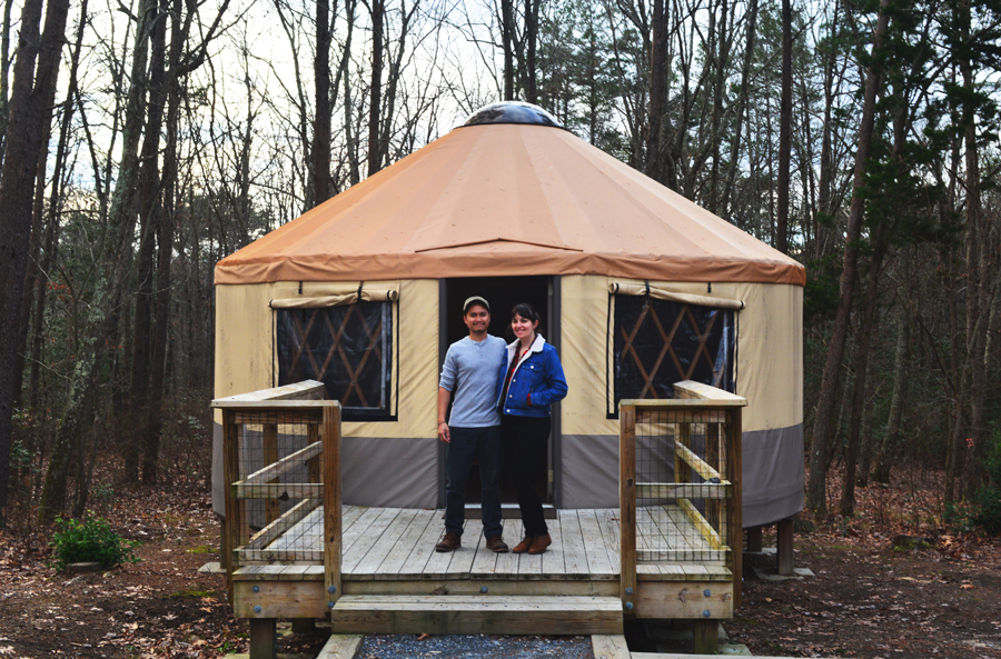Kevin Banogon and Meredith Lambert Banogon camp in a Yurt at Cloudland Canyon in Lookout Mountain, Georgia for their anniversary.