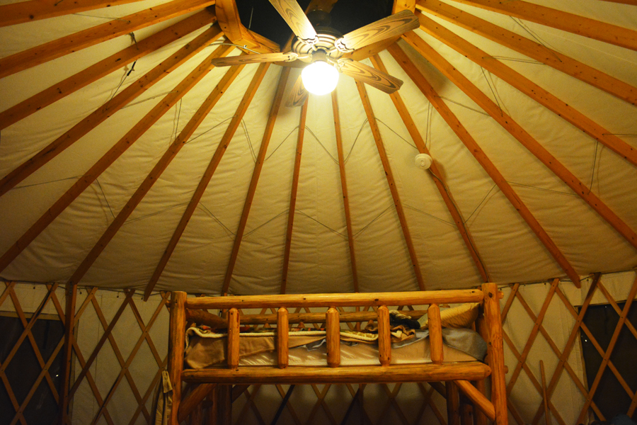 The loft bed and skylight inside the Yurts at Cloudland Canyon in Georgia.