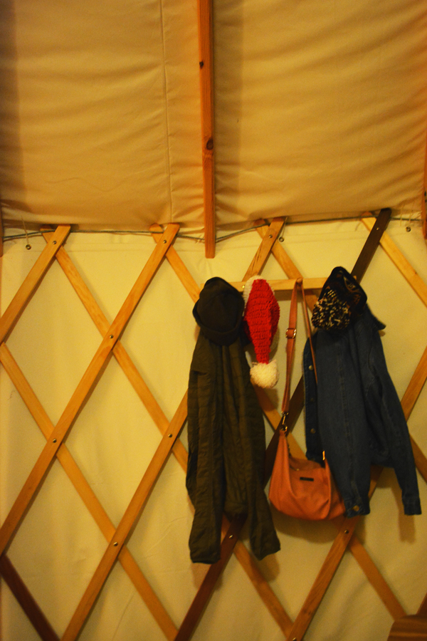 A coat rack inside of the Yurts at Cloudland Canyon where Meredith Lambert Banogon and Kevin Banogon celebrated their one year anniversary.
