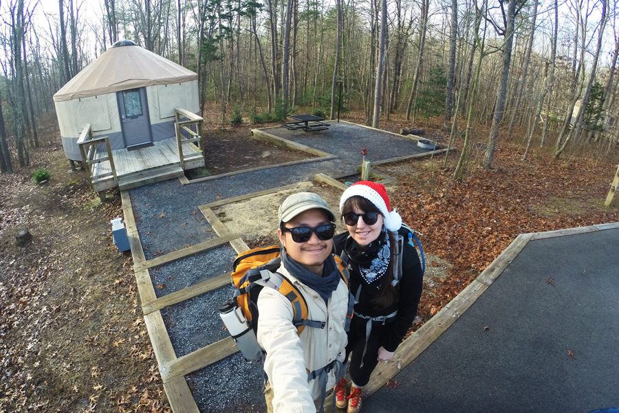 Meredith Lambert Banogon and Kevin Banogon get ready for a day of hiking through Cloudland Canyon on their anniversary.