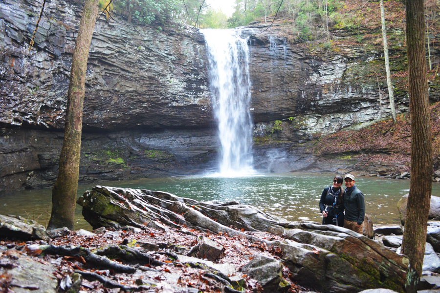 Kevin Banogon and Meredith Banogon pose in front of Cherokee Falls while hiking at Cloudland Canyon.