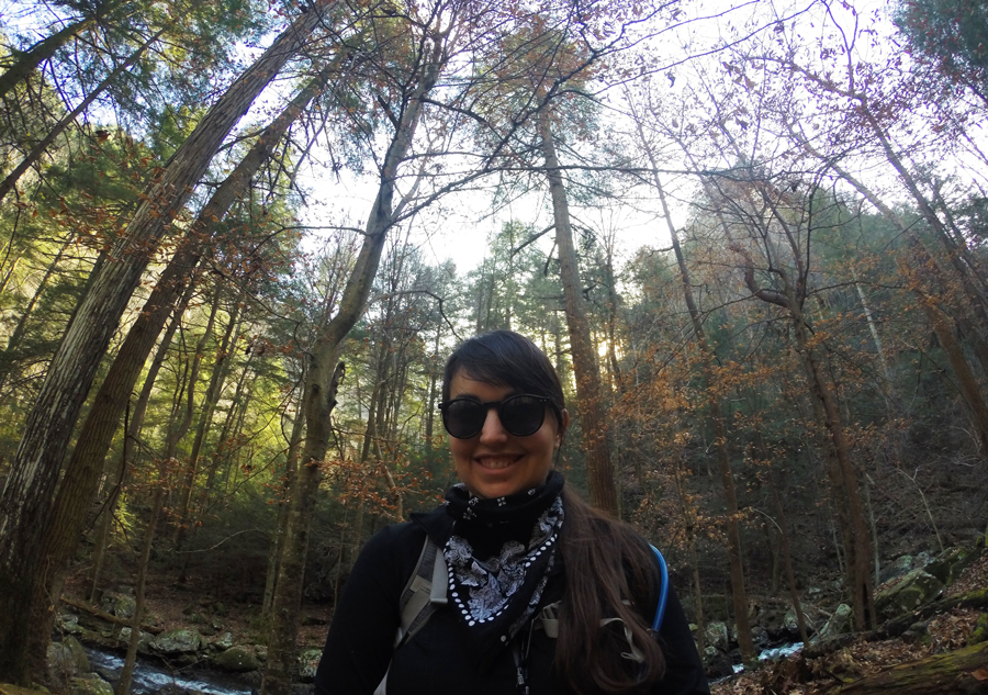 Meredith Lambert Banogon hikes along Sitton Gulch Trail at Cloudland Canyon.