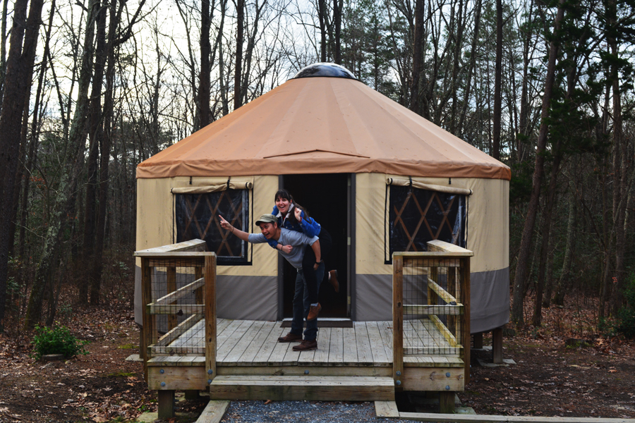 Meredith Lambert Banogon and Kevin Banogon celebrate their one year anniversary camping in a Yurt in north Georgia at Cloudland Canyon.