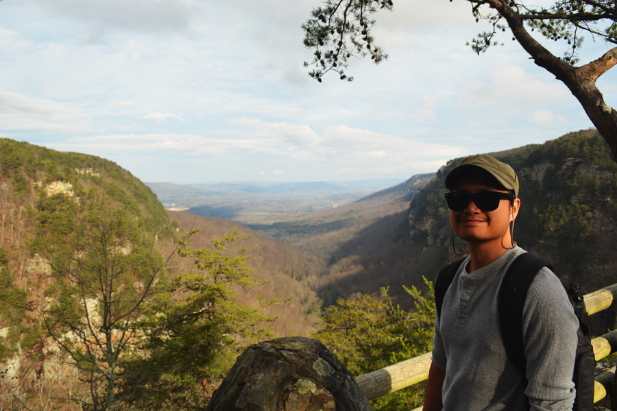 Kevin Banogon visits the lookout at Cloudland Canyon.