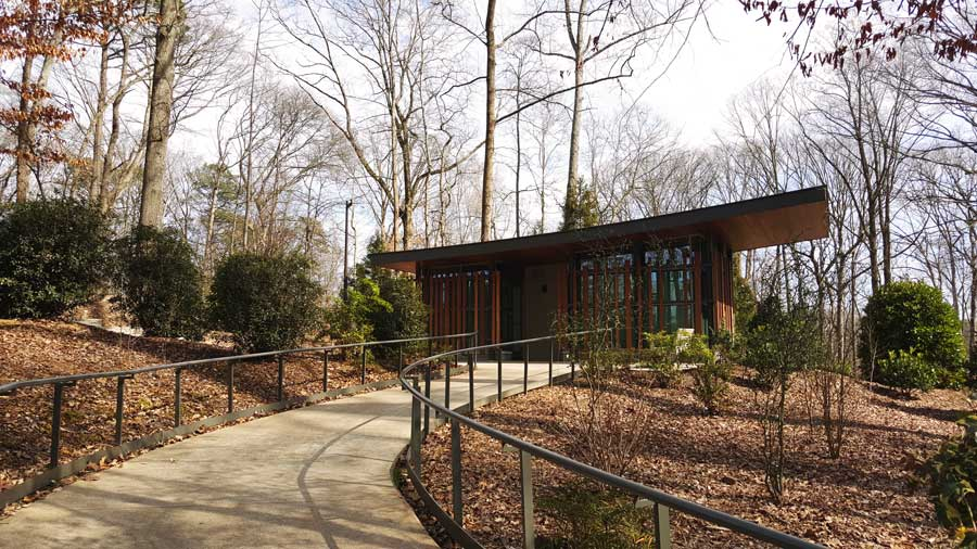Modern architecture within the Atlanta Botanical Garden in the winter.