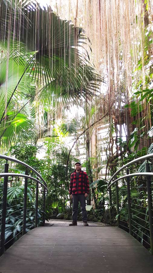 Kevin Banogon stands inside the tropical conservatory at the Atlanta Botanical Garden.