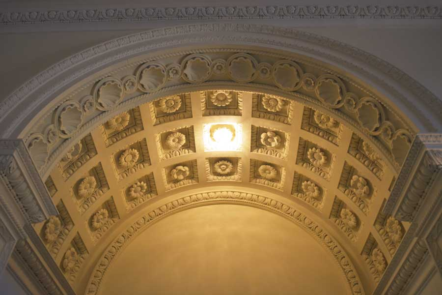 The details of the ceiling at the Swan House in Atlanta, Georgia are beautifully preserved.
